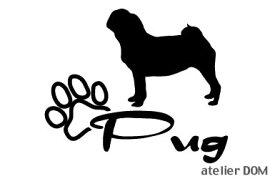 [犬のステッカー]『DOG STICKER』少し大きめのドッグステッカーパグ