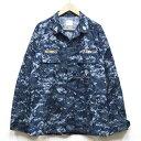 【中古】美品◆実物 米海軍 最新現用 NWU デジタルカモ ジャケット ワッペン4個付き♪US NAVY アメリカ US 戦闘服 迷彩 ミリタリー カモフラ 軍用