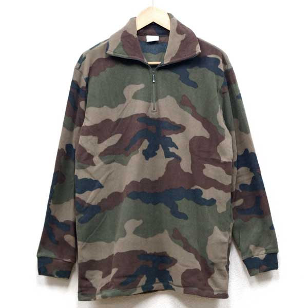 新品◆実物 フランス軍 カモフラージュ ハーフジップ フリースジャケット 2003年製♪ミリタリー デッドストック 軍物 アーミー ユーロ アウトドア 迷彩