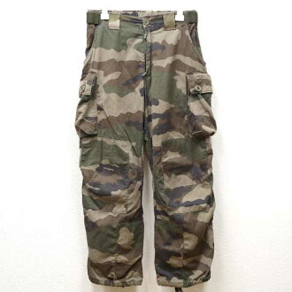 ◆Real thing French military slot button cargo pant camouflage ♪ military  thing military Europe army military use