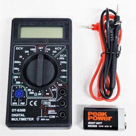 デジタルテスター 電気測定器 リード付属 交流 直流 対応 電圧 抵抗 ダイオード hfe マルチメーター 見やすい 小型デジタルテスター 自動車整備 電子工作 コンパクト T02 家庭用