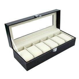 腕時計 収納ケース 6本 コレクション ケース 収納ボックス レザー調 ブラック