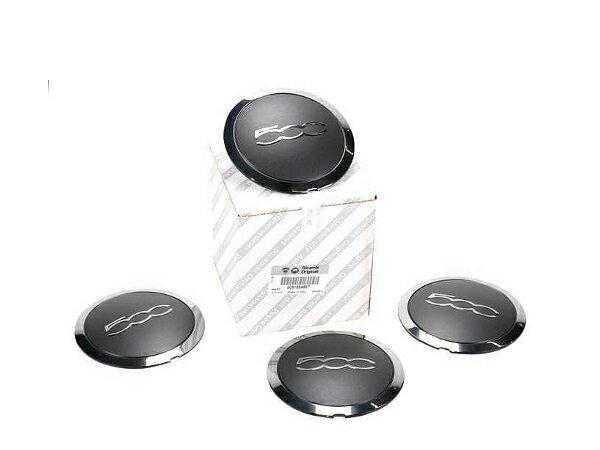 フィアット 500 チンクエチェント 純正ホイールセンターキャップ ブラック/クローム 51884863 4個セット