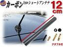 カーボンアンテナ 黒 12cm 【メール便 送料無料】メタル軸内臓 ショートアンテナ ブラック120mm車載用 ユーロタイプ …