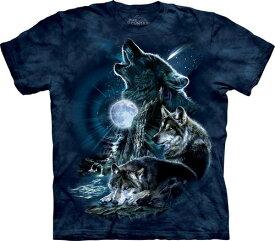 4XL-5XL The Mountain Bark at the Moon メンズ オオカミ メーカー直輸入品 Tシャツ