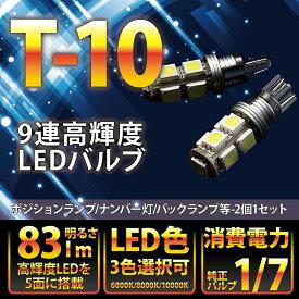 大型アルミヒートシンク搭載新型T10/T16ウェッジ9連高輝度3チップLED 2個1セットポジションランプ/バックランプ【メール便発送】(SM)