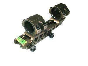 肉抜き ワンピース ダブルリング 直径 25mm 30mm スコープ マウントリング 水平器付 新品 DE2 ダークアース2 オフセット マウント