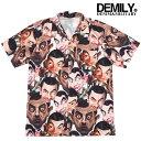 SALE 在庫限り DEMILY デミリー 「Mr.Bean」プリントオープンカラーシャツ 総柄プリント開襟シャツ 大きいサイズ 半袖シャツ 柄シャツ メンズ ストリート カジュアルモード 送料無料