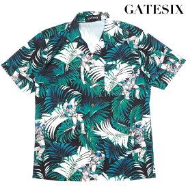 ポッキリSALE/SALE/夏物大特価/GATESIX/リーフ柄オープンカラー半袖シャツ/宇宙飛行士/WHITE/ホワイト/白/開襟シャツ/大きいサイズあり