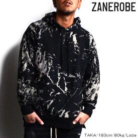 【ポッキリSALE】【SALE】ZANEROBE/ゼインローブ/ブリーチ加工フーディ/パーカー/BLACK/ブラック/ブリーチ/ZR414/メンズ/2019春夏新作/裏毛素材/プルオーバーパーカー/ M/L/XLサイズ/あす楽/送料無料/