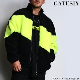 SALE/GATESIX/ゲートシックス/ボアスタンドブルゾン/BLACK×NEON YELLOW/ブラック×ネオンイエロー/スタンドジャケット/ボアジャケット/アウター/ストリート/メンズ/送料無料/新作/