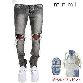 SALE/セール/mnml/ミニマル/M1 STRETCH DENIM/GRAY/ダメージクラッシュジーンズ/ストレッチ/裾ZIPジップ/スキニー/スリムフィット/ストリート/