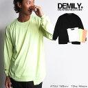 DEMILY/デミリー/裾段違いロングTシャツ/ブラック/ホワイト/ネオンイエロー/ネオンオレンジ/4色展開/長袖Tシャツ/ロンT/