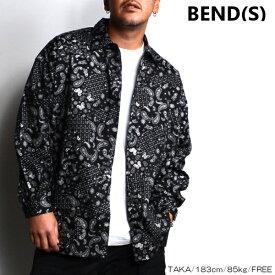 BEND(S) ベンズ ペイズリー柄 シャツ ジャケット BLACK ブラック 長袖 オーバーサイズ ビッグシルエット ストリート スポーティ 韓国ファッション シンプル メンズ 送料無料 新作