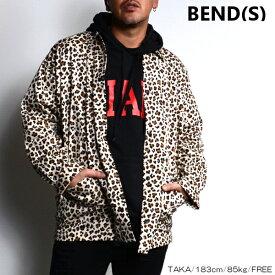 BEND(S) ベンズ ヒョウ柄 シャツ ジャケット 豹柄 BEIGE ベージュ 長袖 オーバーサイズ ビッグシルエット ストリート スポーティ 韓国ファッション シンプル メンズ 送料無料 新作