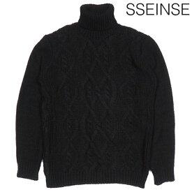 SSEINSE センス ハイネック ローゲージ ケーブル ニット ブラック BLACK 黒 長袖 タートルネック イタリア イタカジ カジュアル モード シンプル メンズ 送料無料 新作