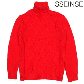 SSEINSE センス ハイネック ローゲージ ケーブル ニット レッド RED 黒 長袖 タートルネック イタリア イタカジ カジュアル モード シンプル メンズ 送料無料 新作