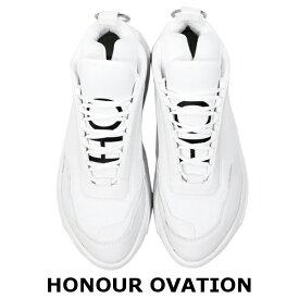 HONOUR OVATION アナーオベーション Big Outsole Shoes 6000 WHITE ホワイト スニーカー ダッドシューズ ハイカット 靴 シューズ レザー 革 ファッション モード 韓国ファッション スポーティ ストリート かっこいい おしゃれ メンズ 送料無料 新作