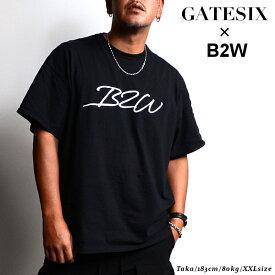 GATESIX [B2W Cursive] 筆記体 ショップTシャツ ブラック 黒 BLACK 半袖Tシャツ ロゴプリント ビーツー モノトーン オーバーサイズ ドロップショルダー ストリート スポーティ シンプル ゲートシックス S/M/L/XL/XXLサイズ メンズ 送料無料 新作