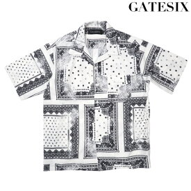 GATESIX オープンカラーバンダナシャツ WHITE 半袖シャツ 開襟シャツ 白 モノトーン ストリート 韓国ファッション シンプル ゲートシックス メンズ 送料無料 新作