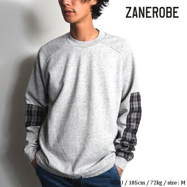 【SALE】ZANEROBE(ゼインローブ) チェックスウェットシャツ 404-MET メンズ 2018秋冬新作 トレーナー 長袖スウェットTシャツ クルーネック グレー M/L/XLサイズ【あす楽】