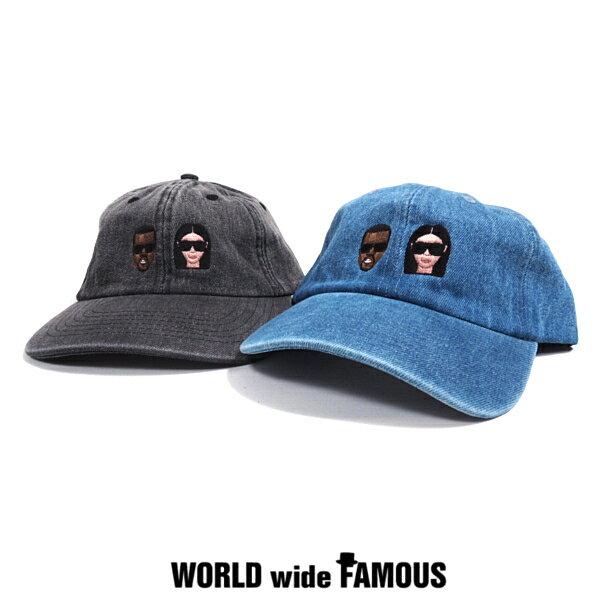 【SALE】WORLD wide FAMOUS(ワールドワイドフェイマス) KANYE&KIM黒髪ver.キャップ【ブリーチデニム:ブルー/ブラック】【カニエウエスト&キムカーダシアン】【デニムキャップ】【アジャスタブル】【帽子】【WWF】【あす楽】