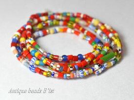 【1801】赤色多めのクリスマスビーズ中小粒一連B【とんぼ玉】【アンティークビーズ】【ビーズ】【パーツ】【ベネチアビーズ】【antiquebeads】【beads】