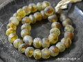 アフリカンパウダーグラスビーズ黄色斑模様一連2,とんぼ玉,アンティークビーズ