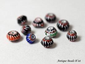 【1902】マルチカラーシェブロン小粒算盤型ビーズ10個セットAS【とんぼ玉】【蜻蛉玉】【アンティークビーズ】【ビーズ】【パーツ】【beads】【ガラスビーズ】【ハンドメイド】【シェブロン】