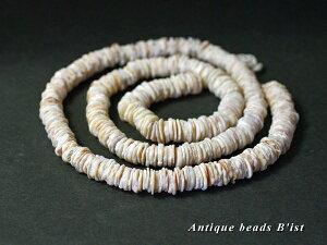 【1204】薄い円形シェルビーズ一連(M)A【とんぼ玉】【アンティークビーズ】【ビーズ】【パーツ】【貝ビーズ】【シェル】【beads】