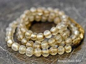 【1711】ナガ族クリアガラス中小粒筋入ビーズ一連【とんぼ玉】【アンティークビーズ】【ビーズ】【パーツ】【骨董】【ナガ族】【antiquebeads】【beads】【ガラスビーズ】