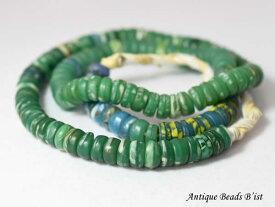 【1803】ANTQボヘミアウランガラスを含むカンカンバ緑色ディスクビーズ一連8【とんぼ玉】【アンティークビーズ】【トレードビーズ】【ビーズ】【パーツ】【チェコビーズ】【骨董】【antiquebeads】【beads】