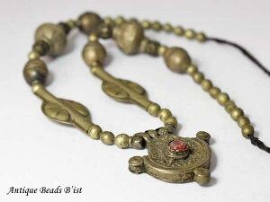 【1708】トルクメニスタン メタル製ペンダントヘッドネックレス【とんぼ玉】【ビーズ】【パーツ】【骨董】【送料無料】【antiquebeads】【beads】【トライバルネックレス】【アンティークビー