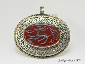 【1911】アフガニスタンカーネリアンメタル大型ペンダントヘッド3【とんぼ玉】【トンボ玉】【瑪瑙】【パワーストーン】 【ストーンビーズ】【パーツ】【印章】【antiquebeads】【beads】