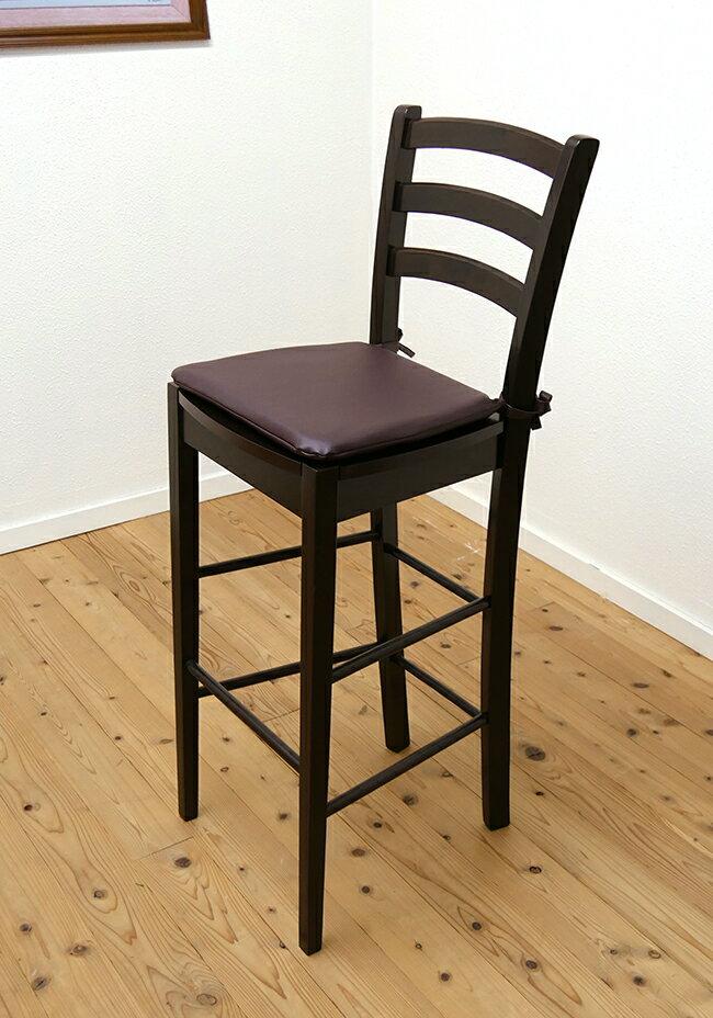 【木製カウンターハイチェア/409/カプチーノ(こげ茶)色/シートクッション付】木製ハイカウンター椅子こげ茶色/木製ハイチェア/木目/濃い茶色/高いスタンド椅子
