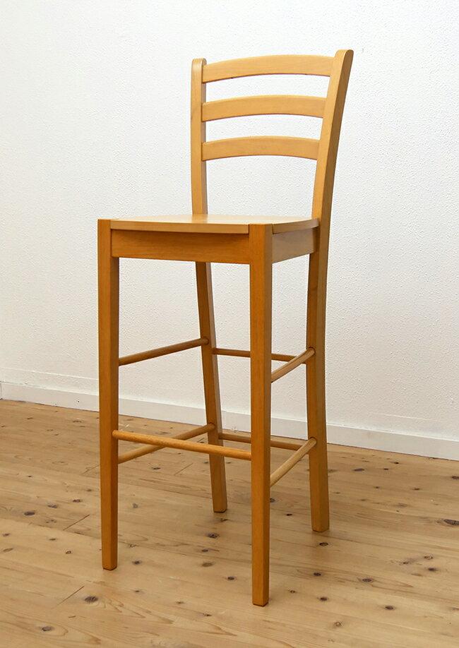 木製カウンターチェア バーチェア 座面70cm以上 ナチュラル(ビーチ)色 ハイカウンターチェア 409 10,000円以下 木製ハイチェア スタンド椅子 薄い木目 白木
