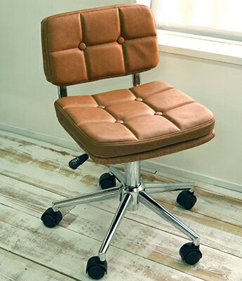 コンパクト オシャレなオフィスチェア デスクチェア 回転昇降式 かわいい椅子 chocolat301br ブラウン色 パソコンチェア クロムメッキ昇降チェア 座面高40-50cm