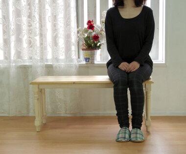 【カントリーパインベンチ幅100cmミルキーホワイト色】木製ベンチオイル仕上げ、カントリーテーブルベンチ