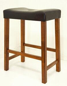 座面高60cm 木製カウンターチェア スツール レザー張り ブラウン色 奥行30cm コンパクトサイズ の カウンタースツール 座面高さ約60cm 木製カウンタースツール 座り心地の良いレザークッショ
