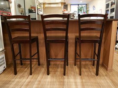 飲食店のカウンター用木製カウンターチェア座面高60cm