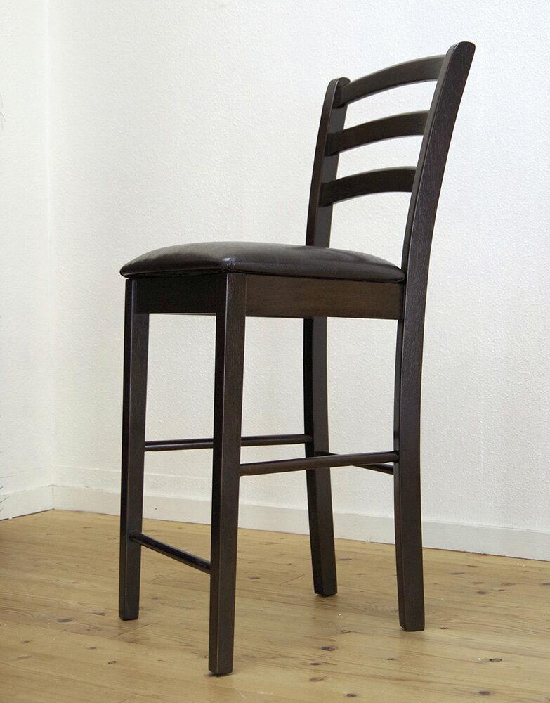 木製カウンターチェア 座面高60cm 台(63cm) レザー張り 業務用で人気 クッション CCK0861 カプチーノ(こげ茶色)スタンド椅子 ダークブラウン色 カフェレストラン店舗用