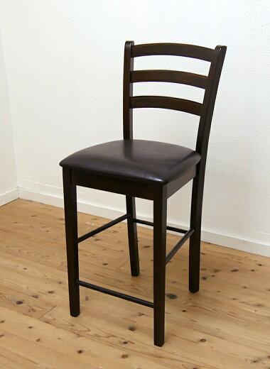 座面高60cmこげ茶色のシンプルな木製カウンターチェア飲食店用