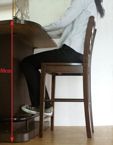 カウンター高さ85cm〜90cmにあう座面高60cm木製カウンターチェア