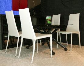 デザイナーズテーブルセット【伸長式リフティングテーブルEsprit-Vbk、チェアToby 4脚セット】昇降伸長式ガラステーブルイタリア製/ダイニングテーブル5点セット/高さ調整黒ガラステーブルセット/テーブル高さ36〜82cm