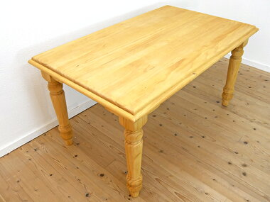 ナチュラルカントリーパインダイニングテーブル140cm幅4人用ダイニングテーブル