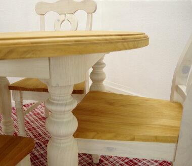フレンチカントリー丸いダイニングテーブル天然木のダイニングテーブルセット