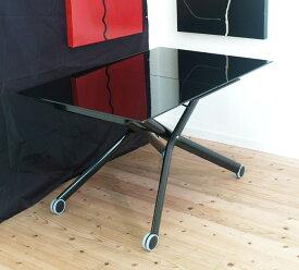 伸長式リフティングテーブルEsprit-vbk/ガラス天板】昇降伸長式テーブルイタリア製ブラック/ダイニングテーブル/リビングテーブル/高さ調整テーブル/テーブル高さ38〜82cm