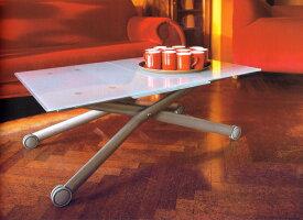 ガラス天板のテーブル 伸長式リフティングテーブル Esptir-v/ガラス天板 昇降伸長式テーブル イタリア製 ダイニングテーブル リビングテーブル 高さ調整テーブル テーブル高さ37〜82cm