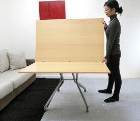 大きなサイズの昇降テーブル【伸長式リフティングテーブルEsprit/ビーチ色】昇降伸長式テーブルイタリア製/アジャスタブルテーブル/高さ調整テーブル/テーブル高さ37〜82cm