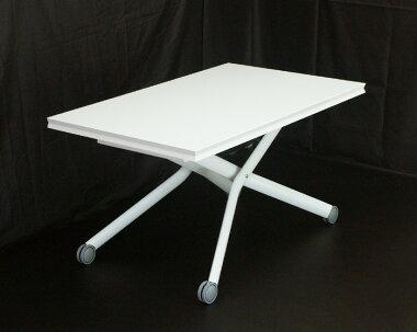 ピアノ塗装の白いリフティングテーブル昇降式リビングテーブル